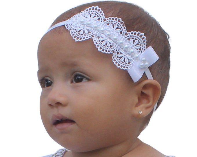 White Satin Headband Pearl Lace Girl Wedding Christening Holy Communion Baptism