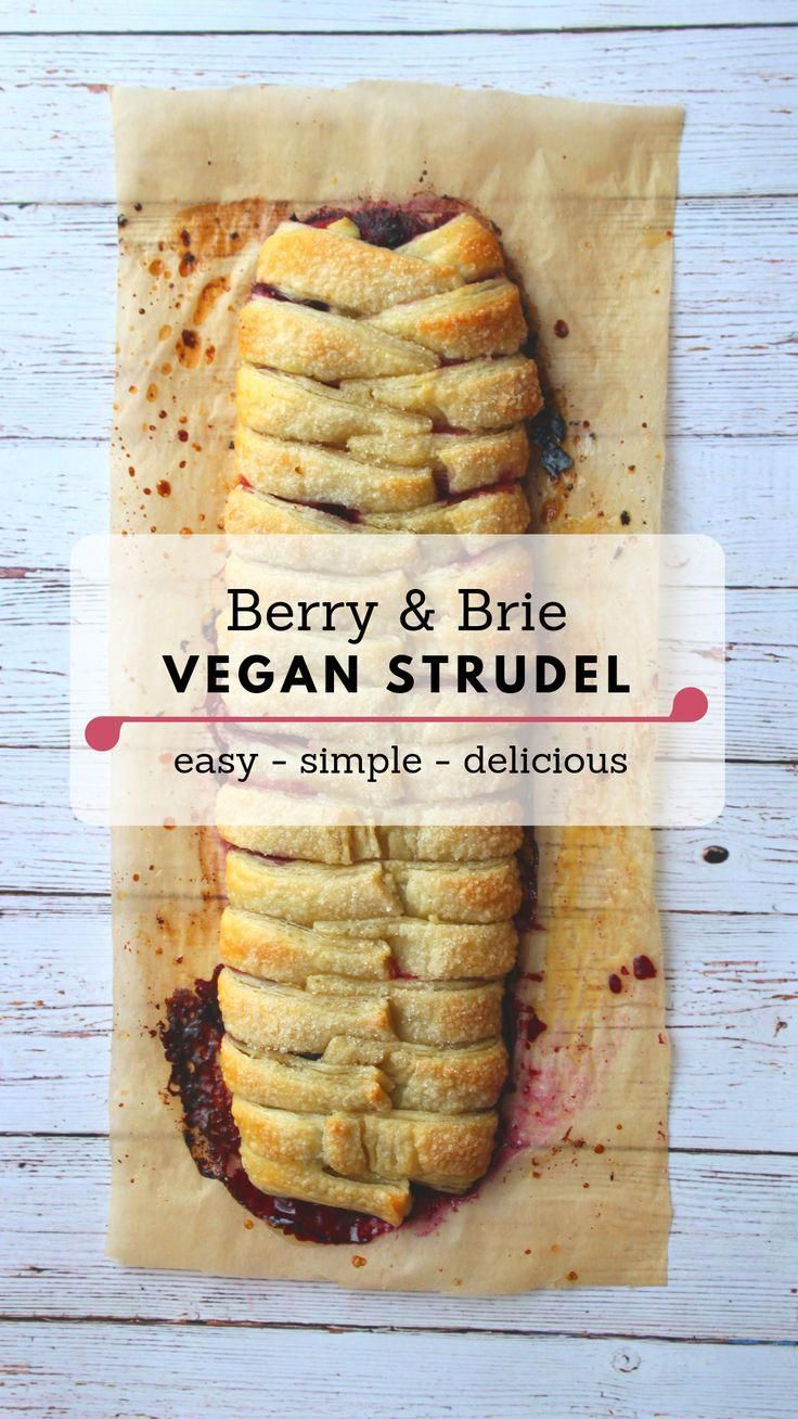 This somewhat fancy vegan strudel is actually really really easy to make. I used a natural puff pastry that is vegan, from the brand Maison, which I found at my local whole foods. I went with this puff pastry because it has simple ingredients and is free of preservatives. The star of the dessert is the vegan brie cheese. You can use any vegan brie, or another neutral tasting vegan cheese.