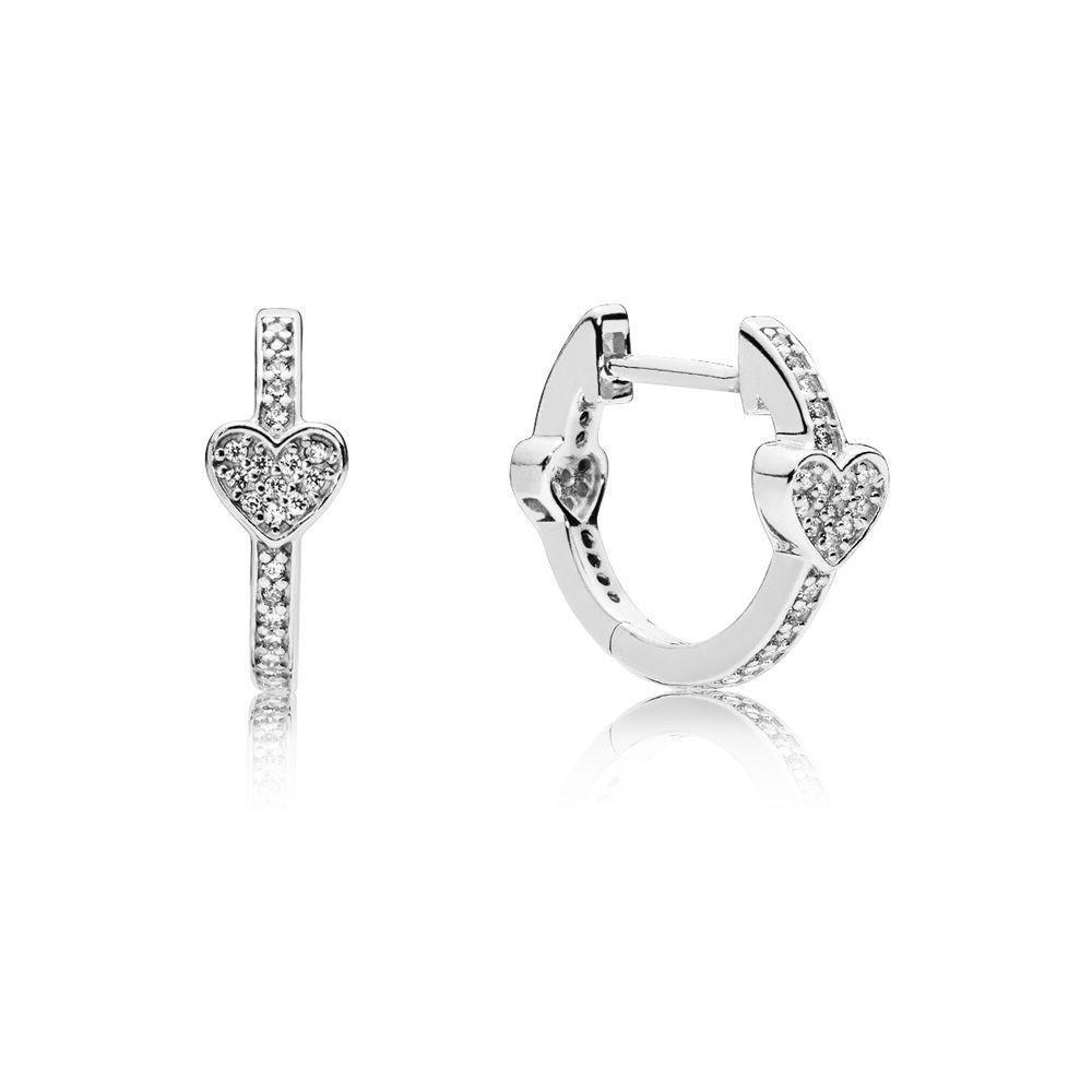 6a679da52 297290CZ Hearts Hoop Earrings. 297290CZ Hearts Hoop Earrings Sterling Silver  ...
