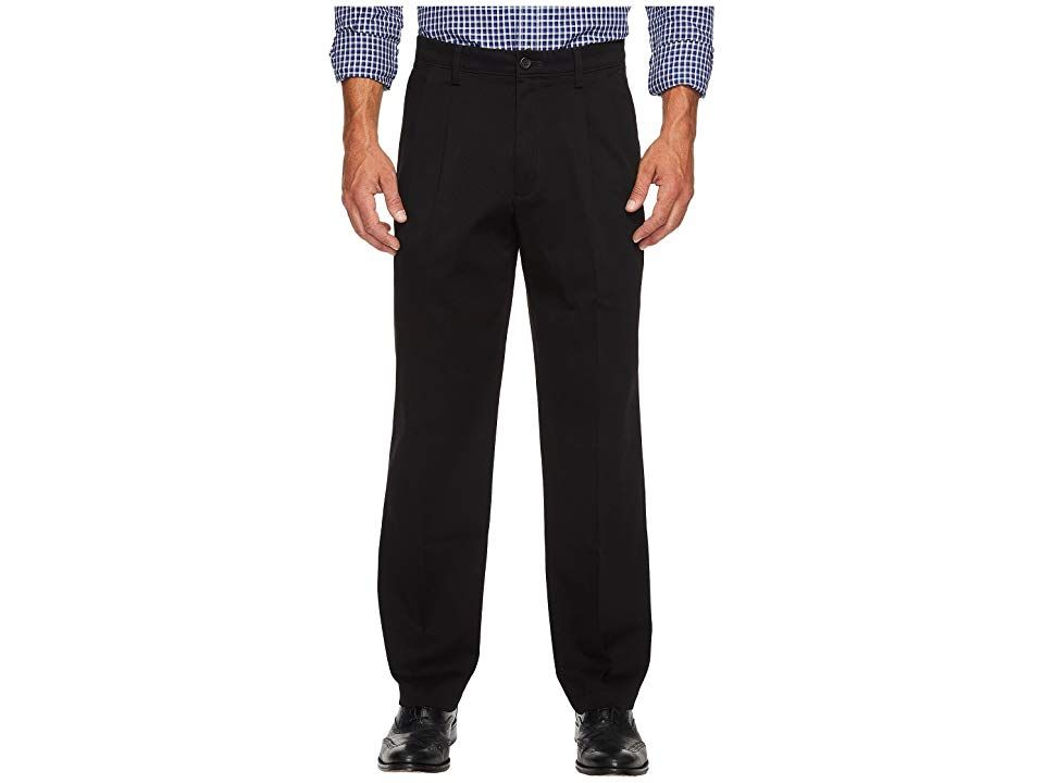 Dockers Easy Khaki D3 Classic Fit Pleated Pants Black Mens Clothing Your signature wardrobe staple Dual front pleats and permanent leg crease provide a clean tailored fin...
