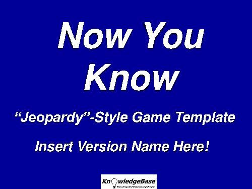 TeacherLingo $495 - This NOW YOU KNOW  - jeopardy powerpoint template