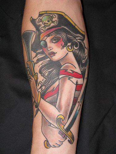 Old School Pirate Tattoos : school, pirate, tattoos, Pirate, Tattoo, Tattoo,, Tattoos,, Traditional