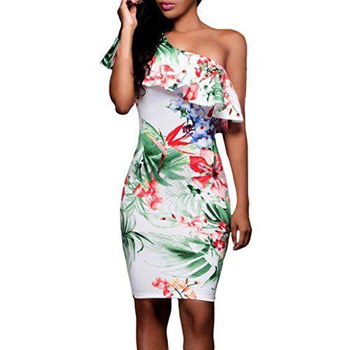 24a59c841e28c Tefamore Femmes Summer Cocktail de fête occasionnelle Robe courte mini-robe  (M Blanc)