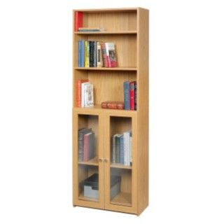 @Overstock - This two-door bookcase features glass doors with three adjustable and two fixed shelves for all your storage needs. This living room furniture features a northern oak laminate finish.http://www.overstock.com/Home-Garden/akadaHome-Multifunctional-Glass-Bookcase-Organizer/6023424/product.html?CID=214117 $184.99
