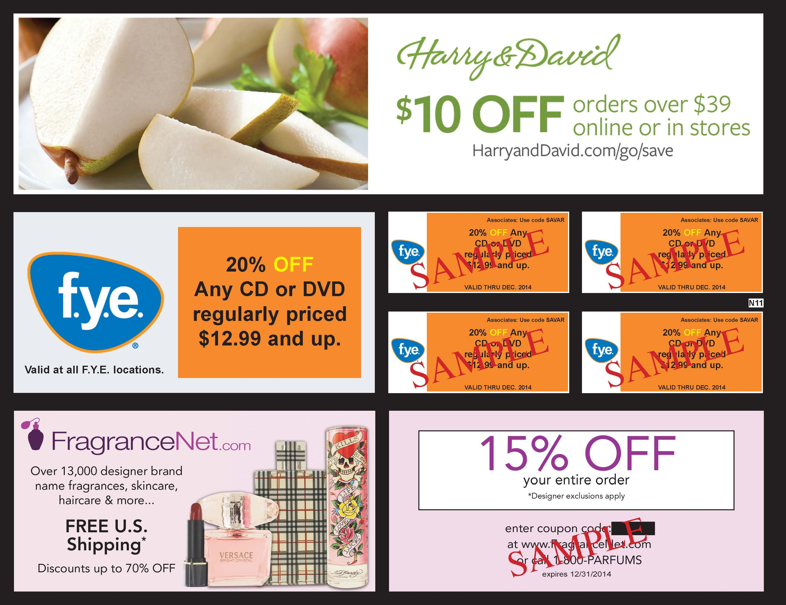 Harry David F Y E And Frangrancenet Com Are Featured In All U S Editions Of 2014 Savearound Coupon Books Coupon Book Flip Book Branding Design