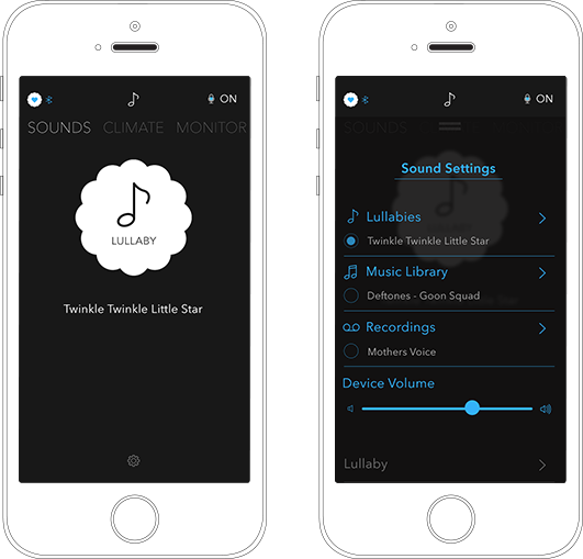 With the Good Night Charly App you can play lullabies directly from your itunes and spotify to the music box beside your baby  - http://goodnightcharly.com #sleep #app #lullabies