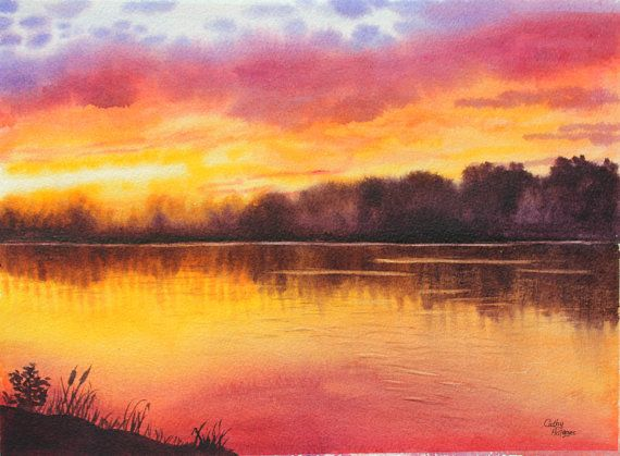 Watercolor Sunset Lake Painting