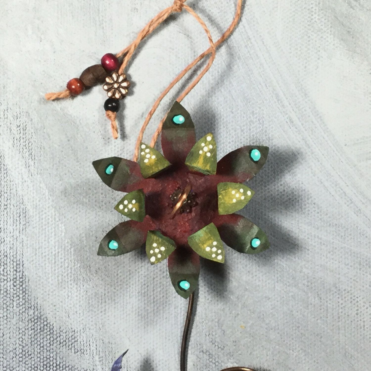 Metal Flower Wall Hanging Green And Red Wall Hanging Metal Flower Ornament Hand Made And