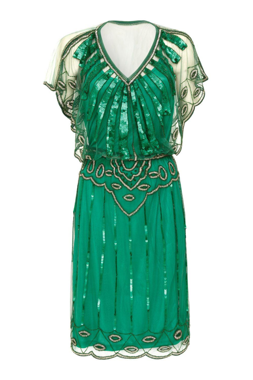 US6 UK10 AUS10 EU38 Emerald Green Vintage inspired 20s Flapper Great ...