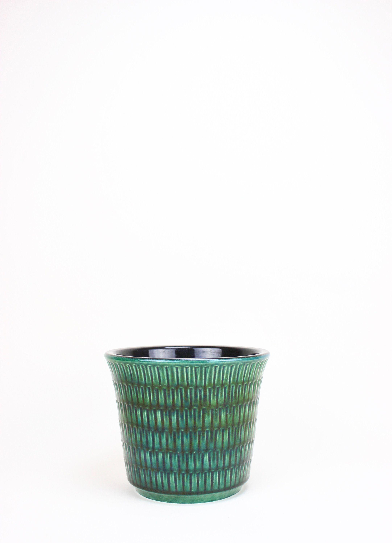 Vintage Jasba Blumentopf Ubertopf Pflanzgefass Keramik Grun Vintage Trash Can Small Trash Can