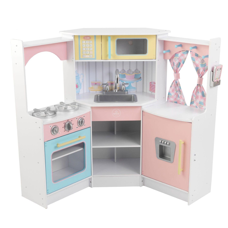 KidKraft Deluxe Corner Play Kitchen | Wood composite, Kid kraft and ...