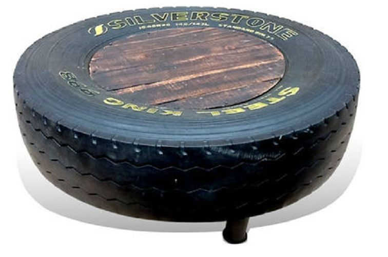 45x120cm upcycled tyre coffee table with wood top - industrial art