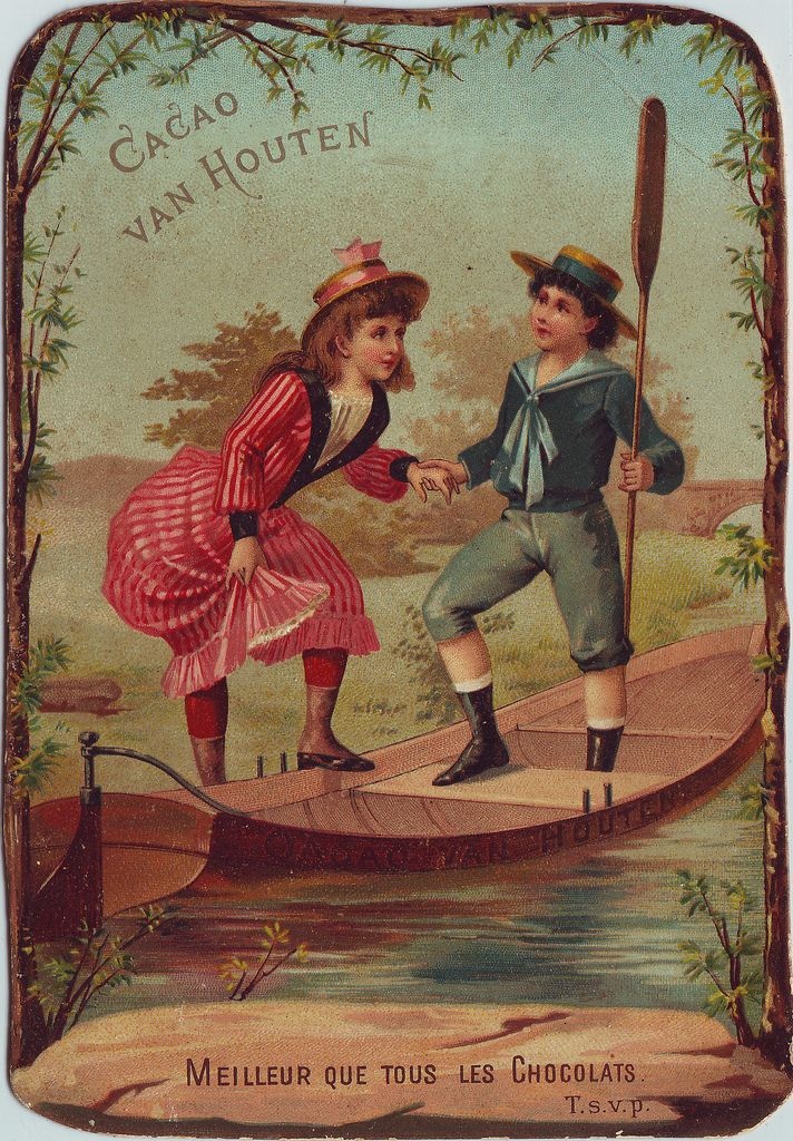 chromo cacao van houten boy helping girl into rowing boat | Flickr - Photo Sharing!