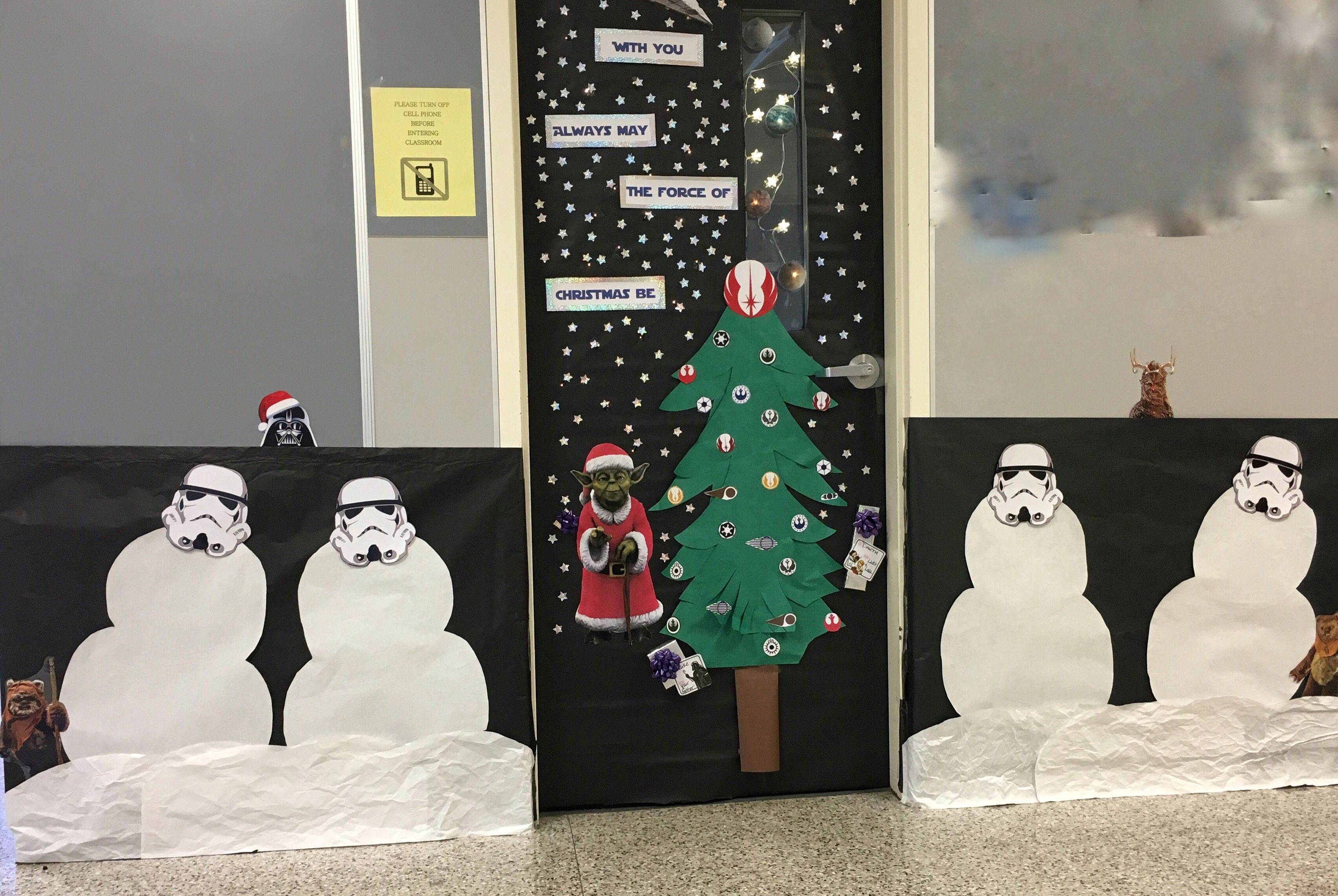 Star Wars Christmas For The Door Decorating Contest At Our High School Star Wars Christmas Decorations Christmas Classroom Door Office Christmas Decorations
