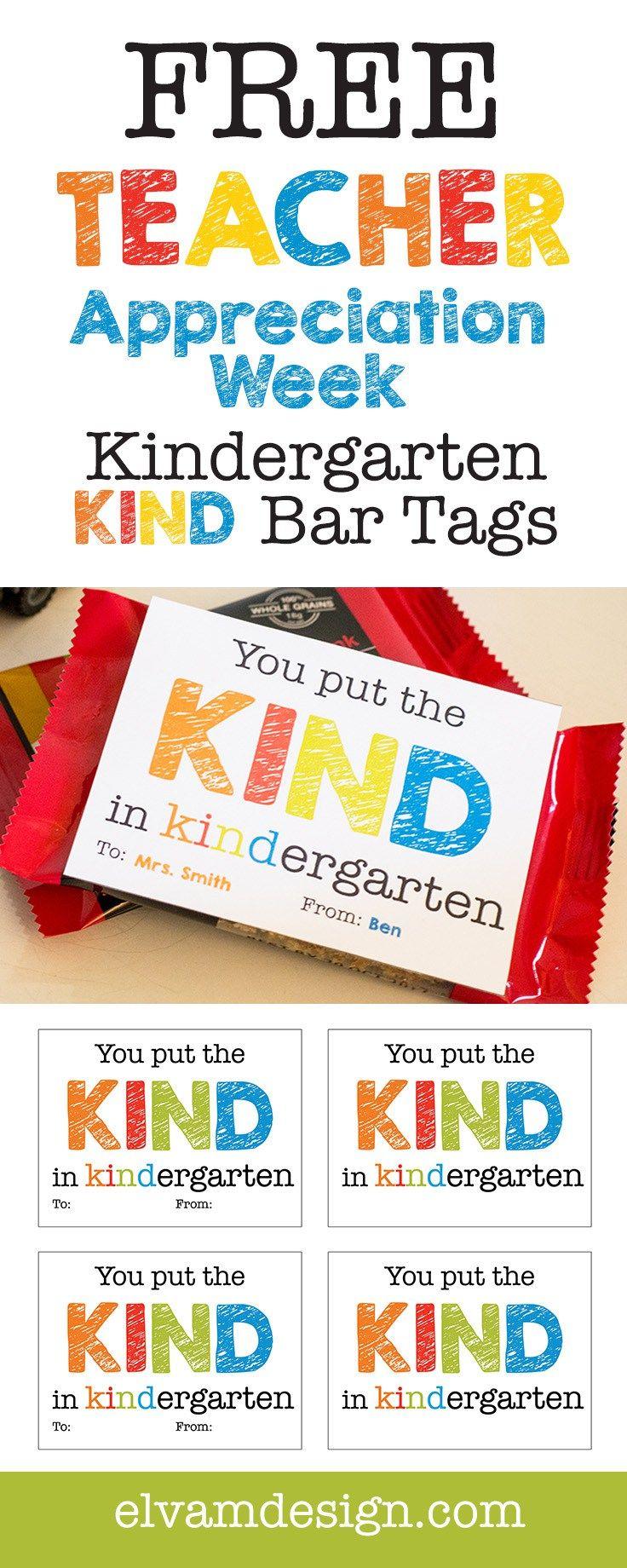 Free Kindergarten Teacher Appreciation Gift Tag - Elva M Design Studio