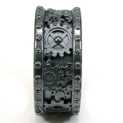 Steampunk Wedding Rings | Steampunk Black Silver Gear Ring - Steam punk Wedding Ring