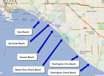 Map of Northern Orange County beaches from Seal Beach to ... California State Beaches Map on