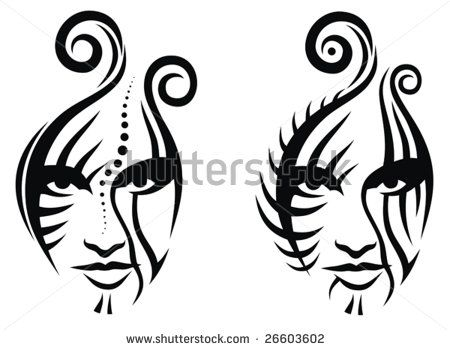 Line Drawing Of Female Face : Tribal female warrior mask tatoo try skillfeed new start