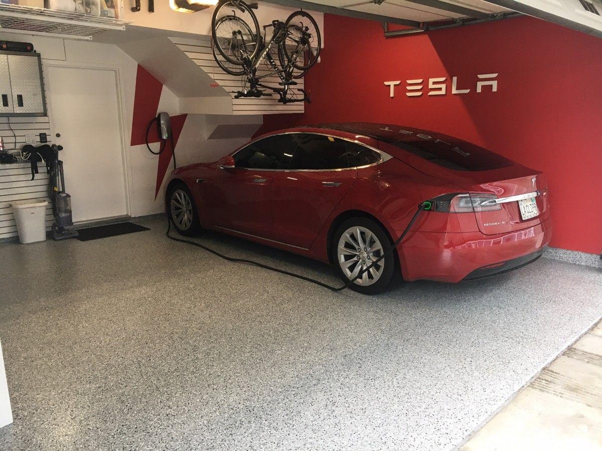 Tesla Showroom Garage With Roll On Rock The Epoxy Grind