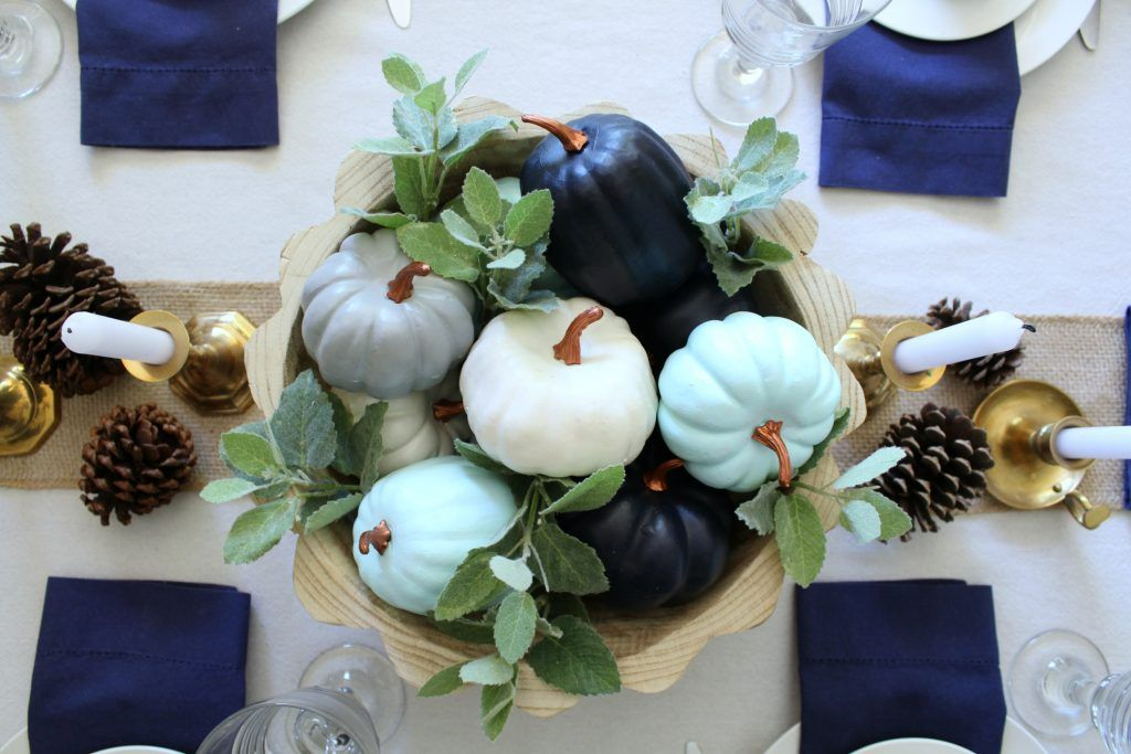 Fall Tablescape In Shades Of Blue Fall Thanksgiving Decor Blue Fall Decor Fall Decor Diy