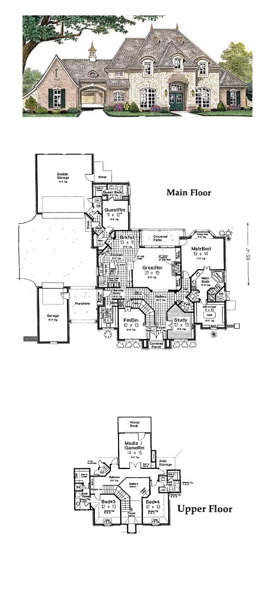 French Country Style House Plan 66235 With 4 Bed 5 Bath 3 Car Garage French Country House French Country House Plans Country Style House Plans