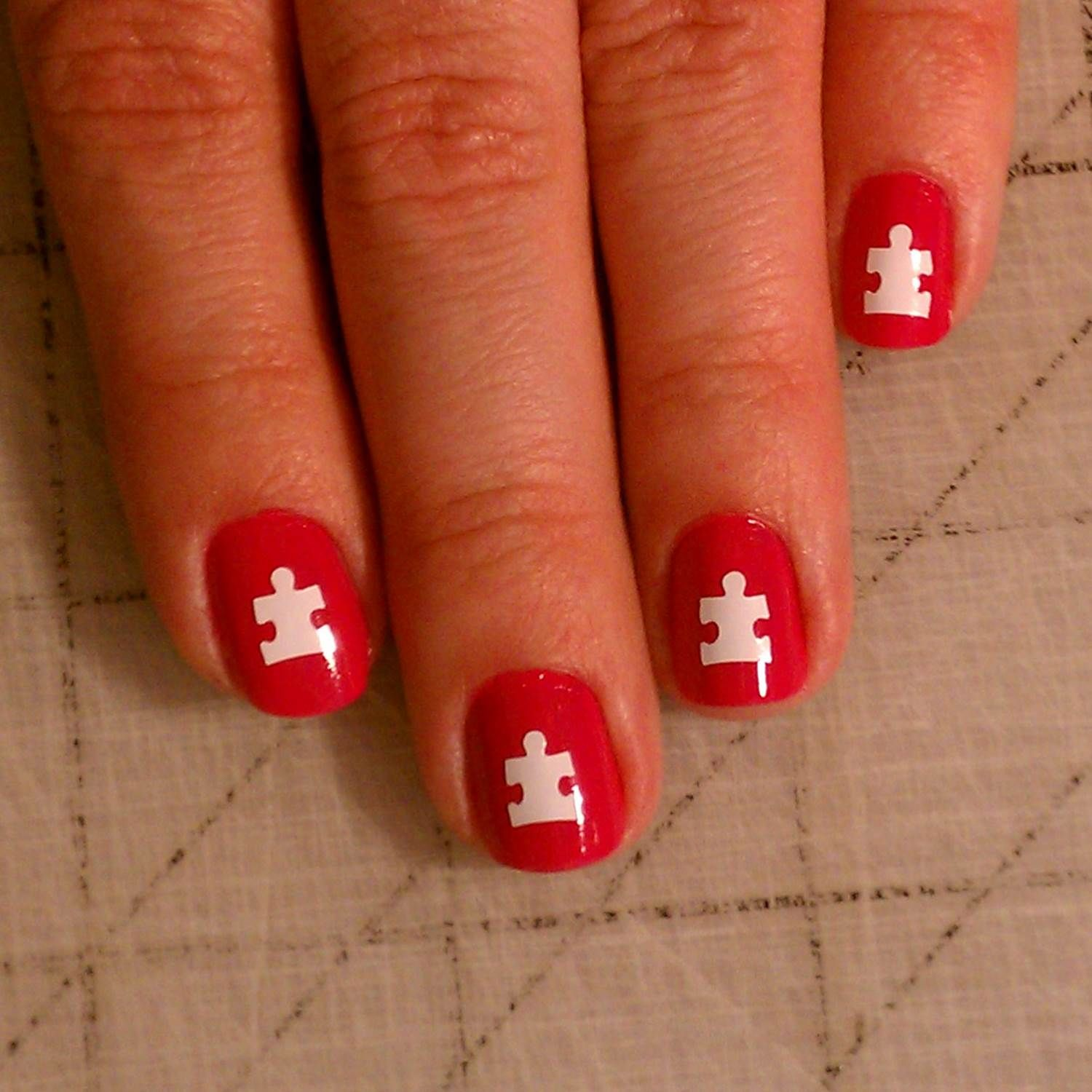 Autism Awareness Puzzle Piece Nail Art check out www ...