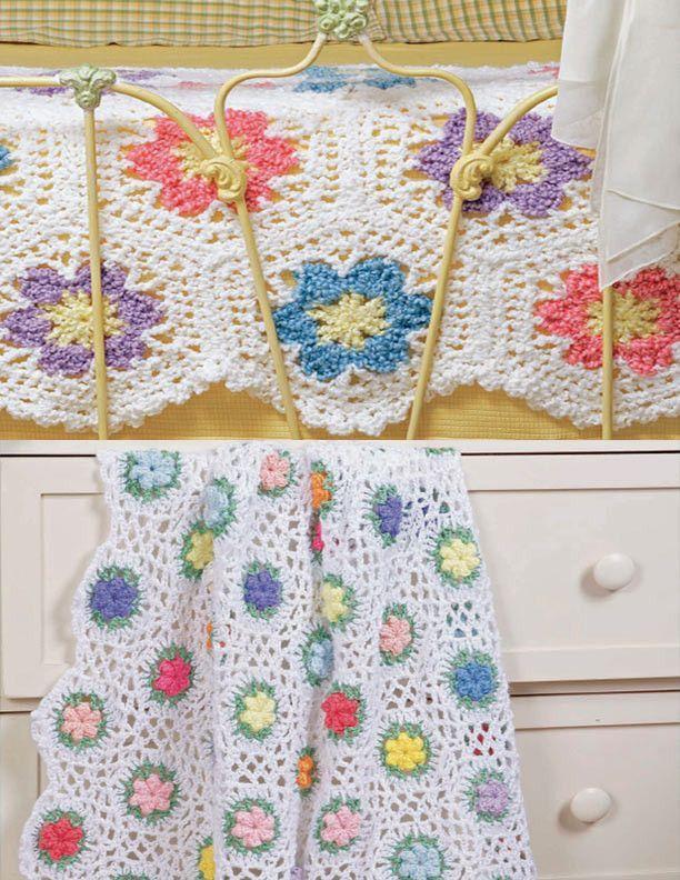 Flower Garden Motif Afghans Set Crochet Pattern | Cosas para bebe ...