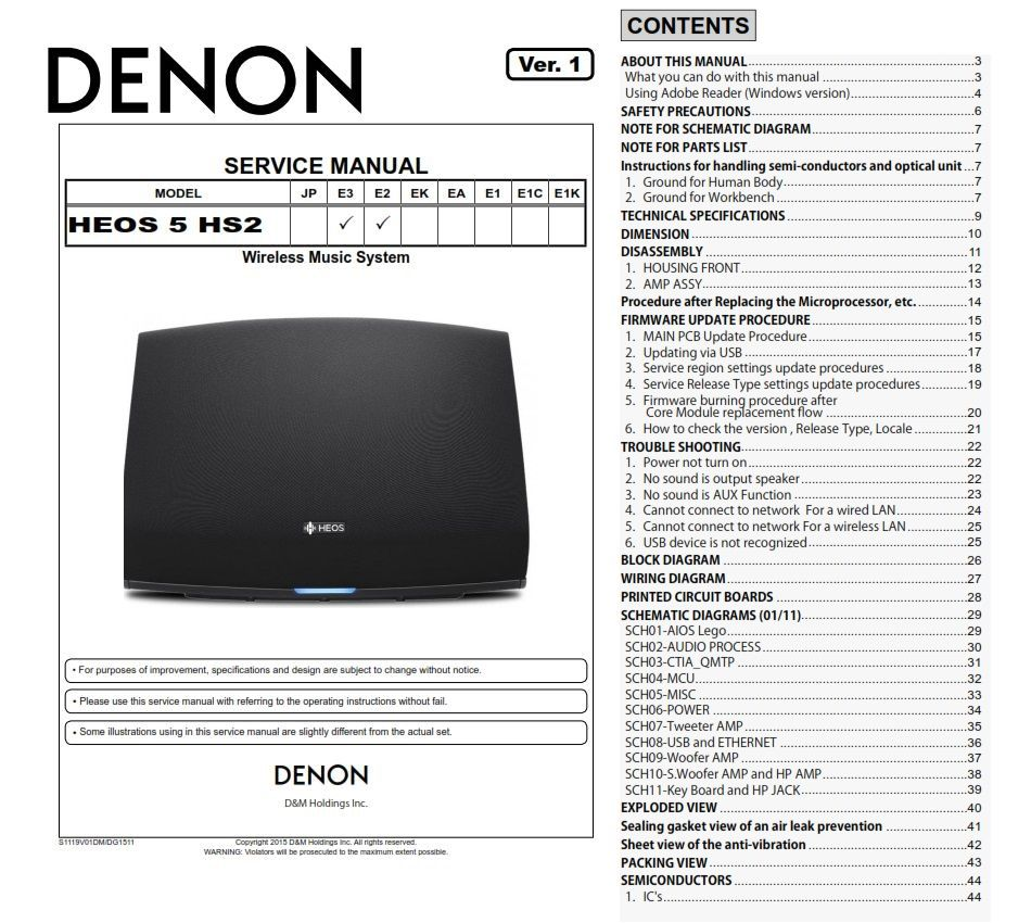 Denon HEOS 5 HS2 wireless speaker system original service, repair and  technical troubleshooting manual.