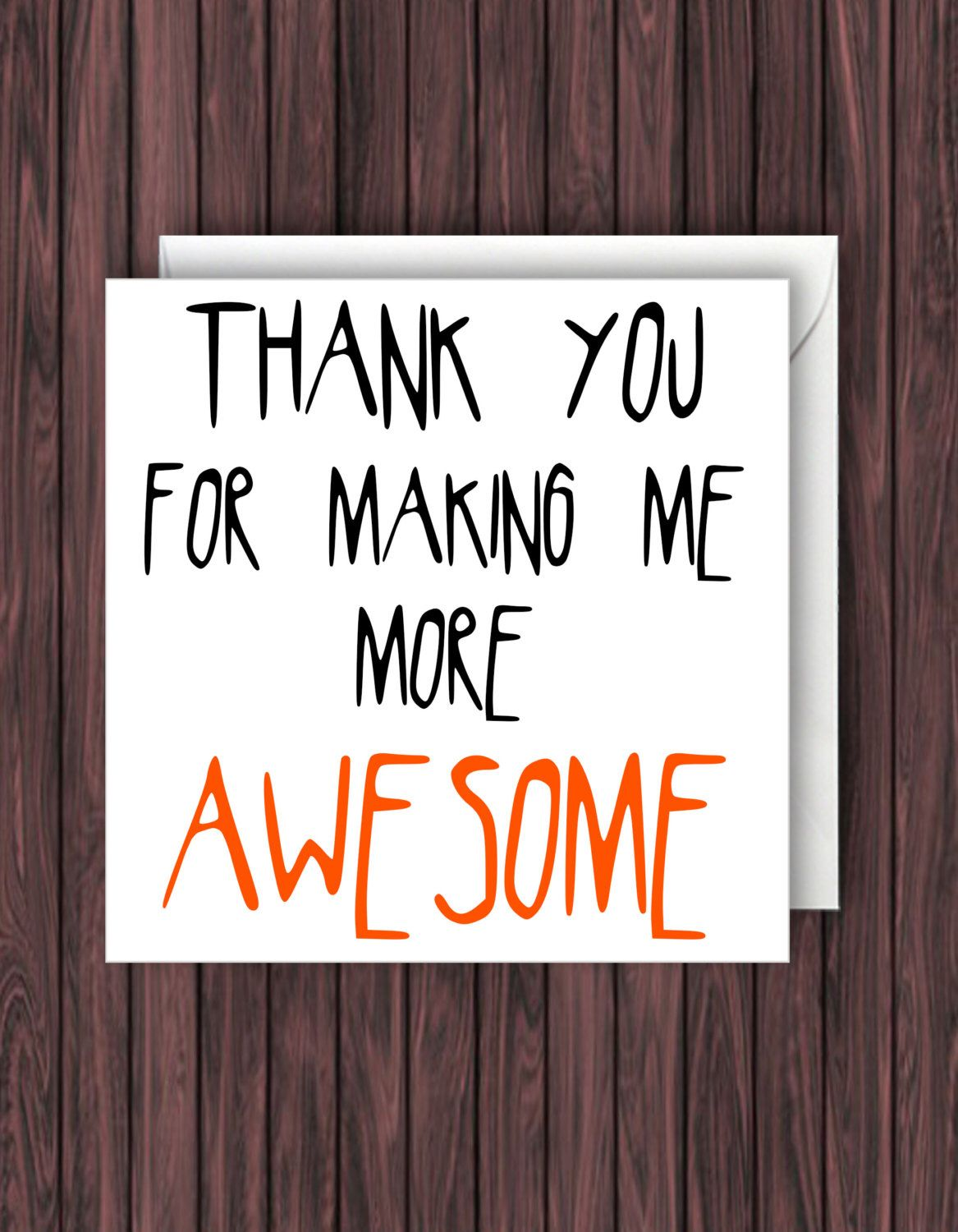 Awesome Thanks Funny Thank You Card Funny Card Greeting Card