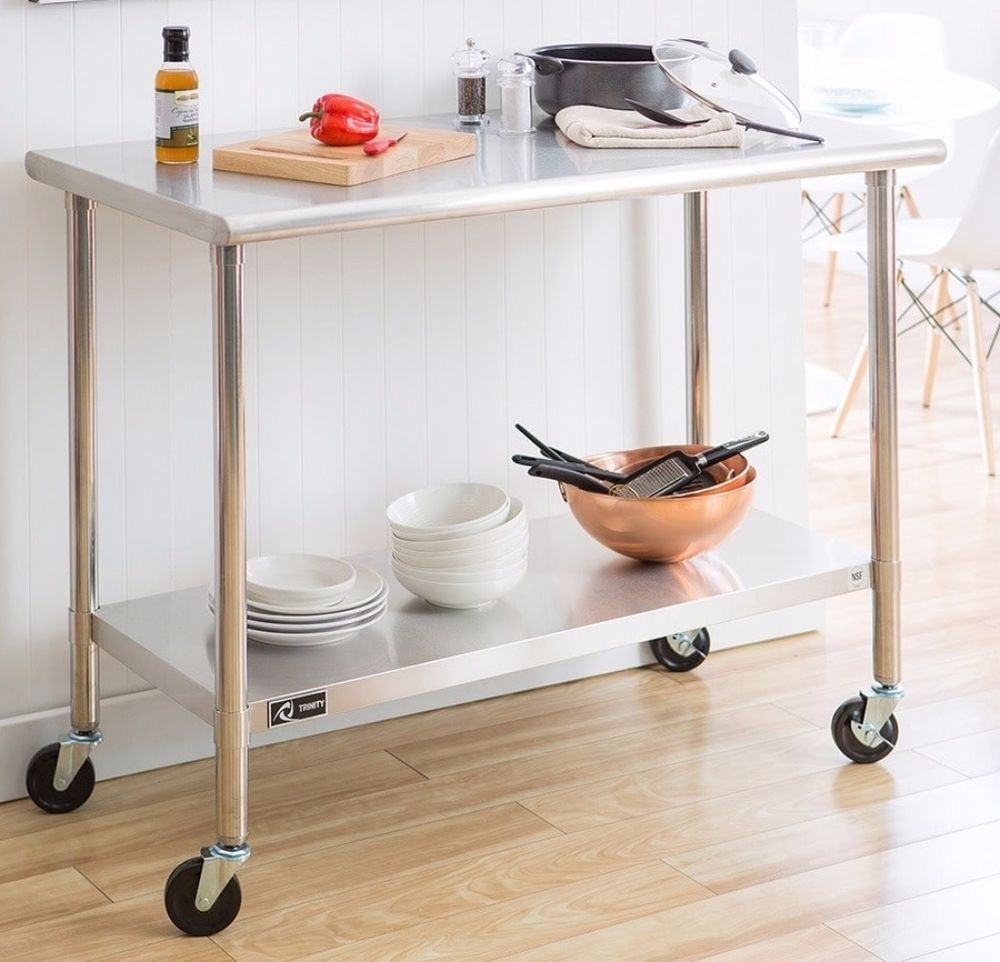 Trinity stainless steel table portable cart with caster kit kitchen