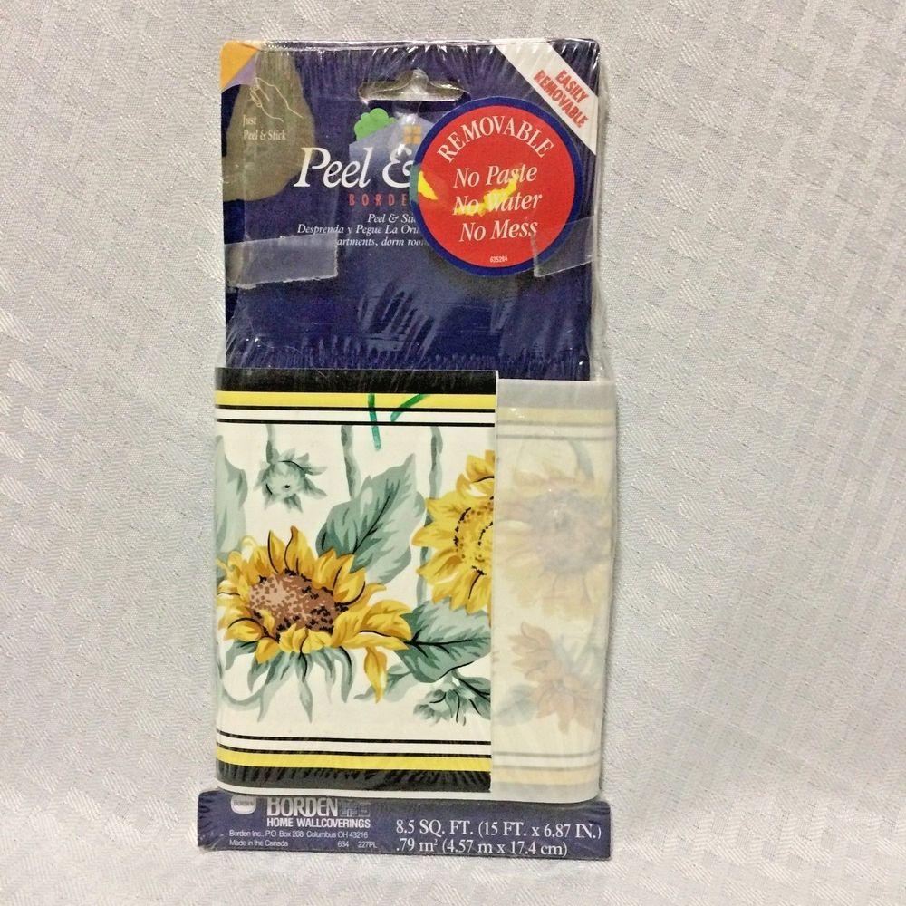 Sunflowers Borden Home Wallcovering 5 Yards Self Stick Wallpaper Border Nos Bordenhomewallcoverings Wallpaper Border Wall Coverings Dorm Decorations