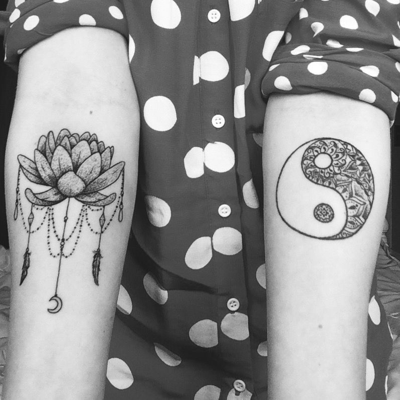 Fresh tattoo (left) 1 year old tattoo (right)