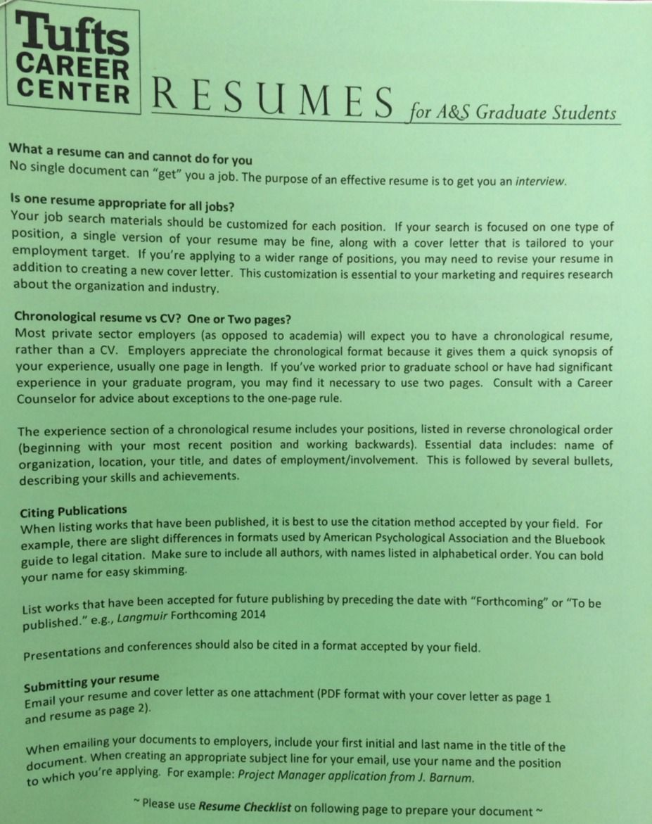 Delightful Tufts Career Center Cover Letter Or RESUME Tips And Examples