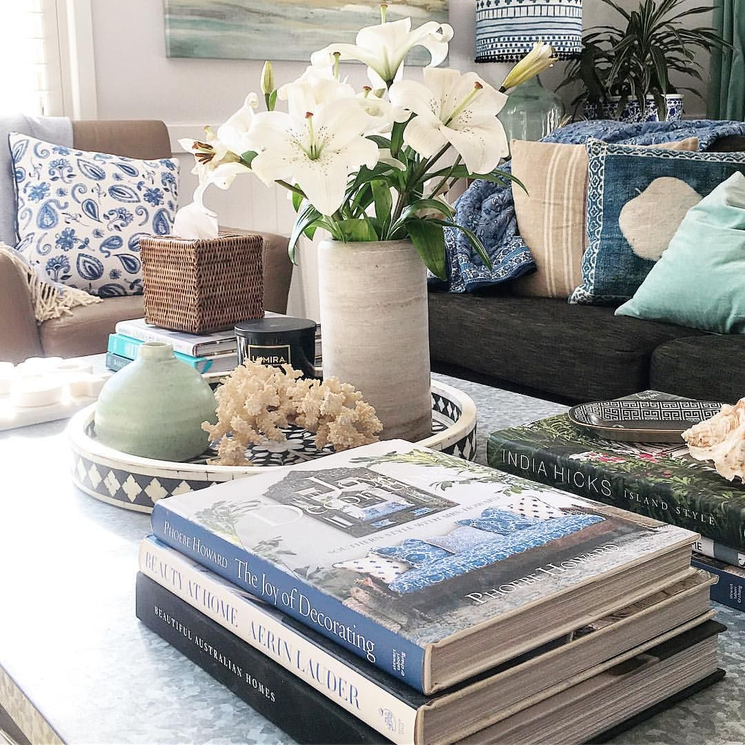 Coastal Style Coffee Table Styling Table Top Decor Decorating