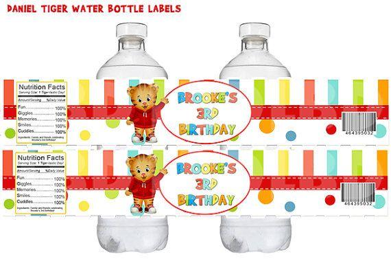 Daniel Tiger Water Bottle Labels, Daniel Tiger Favor Labels Daniel Tiger Birthday Party Prinatbles on Etsy, $4.99