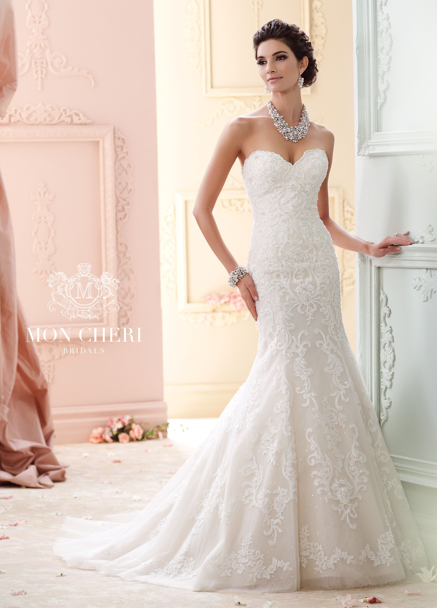Mon Cheri Bridals 215274 C Elegant Vintage Wedding Dress Strapless Hand Beaded Embroidered Lace And Sequin Tulle Over Memory Taffeta Fit Flare