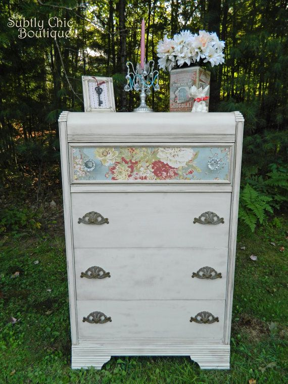 Vintage Art Deco Waterfall Dresser Refinished Shabby Chic