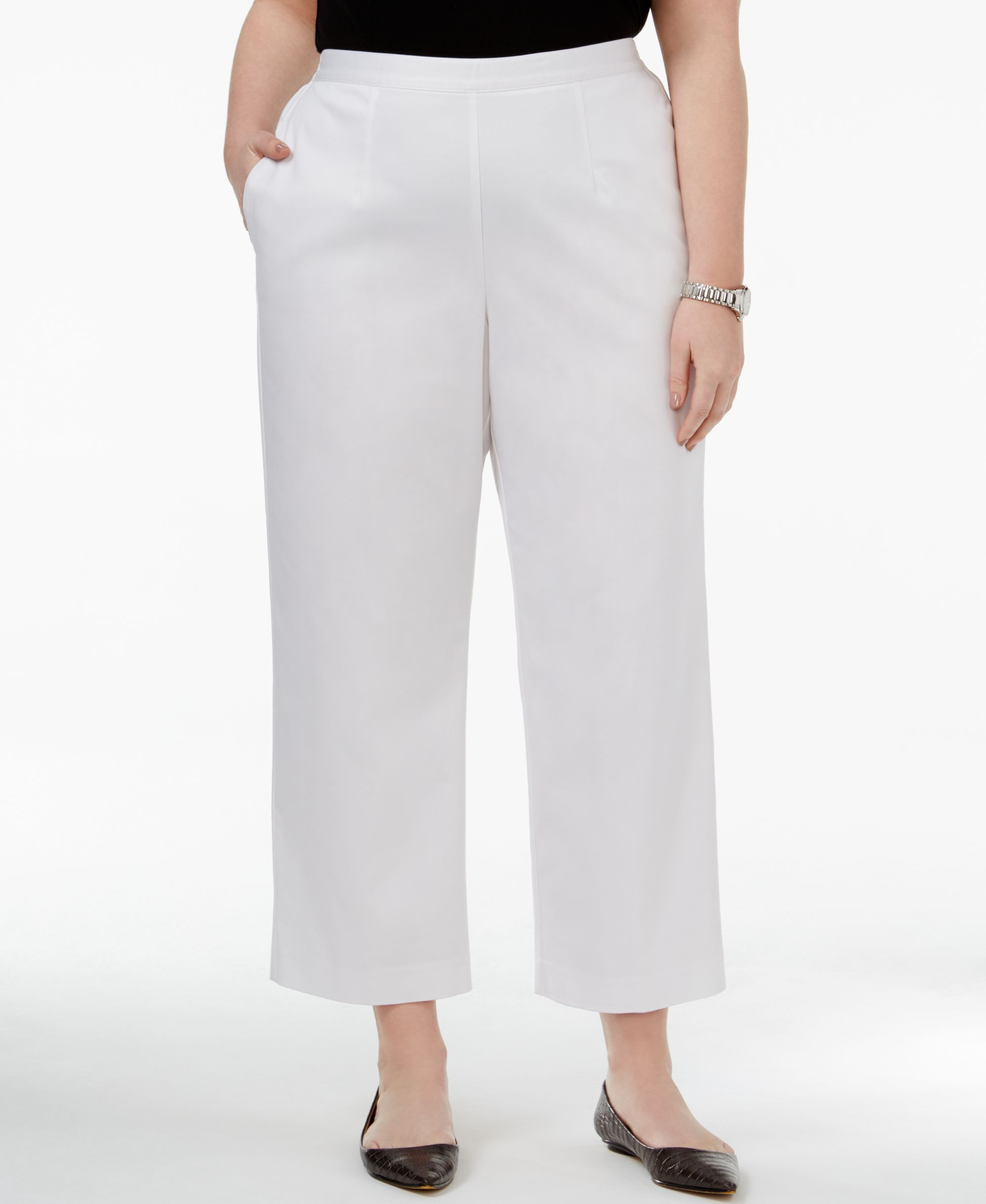 4f78b154b5725 Alfred Dunner Plus Size Bahama Bay Collection Pull-On Straight-Leg Pants