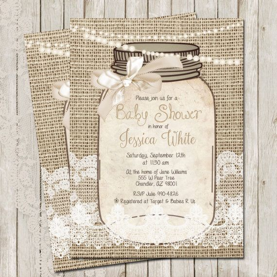 Rustic, Burlap and Lace, Baby Shower Invitation, Invite, Gold - ivory resume paper