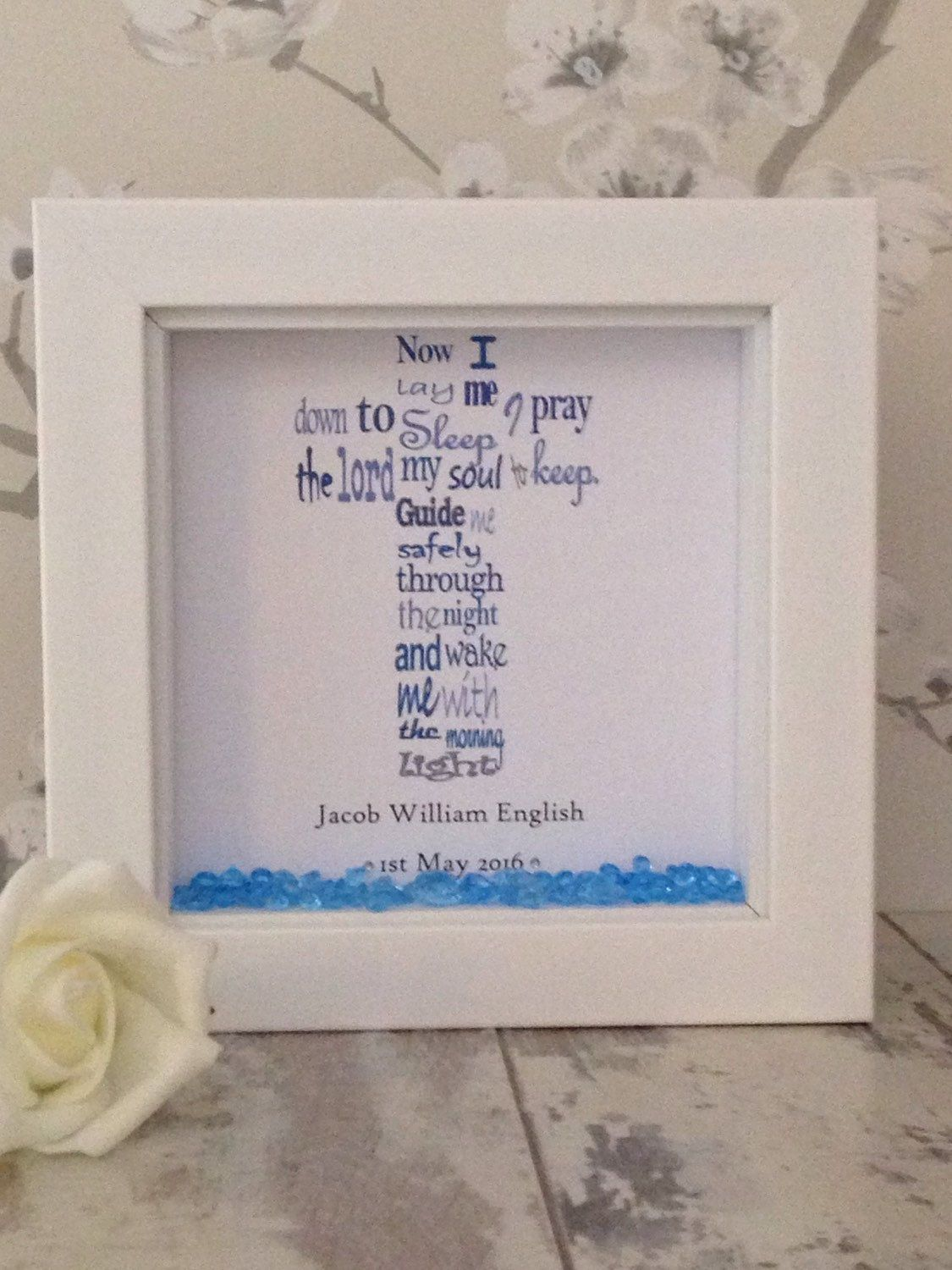 Beautiful personalised christening shadow box gift frame ~ baby ...