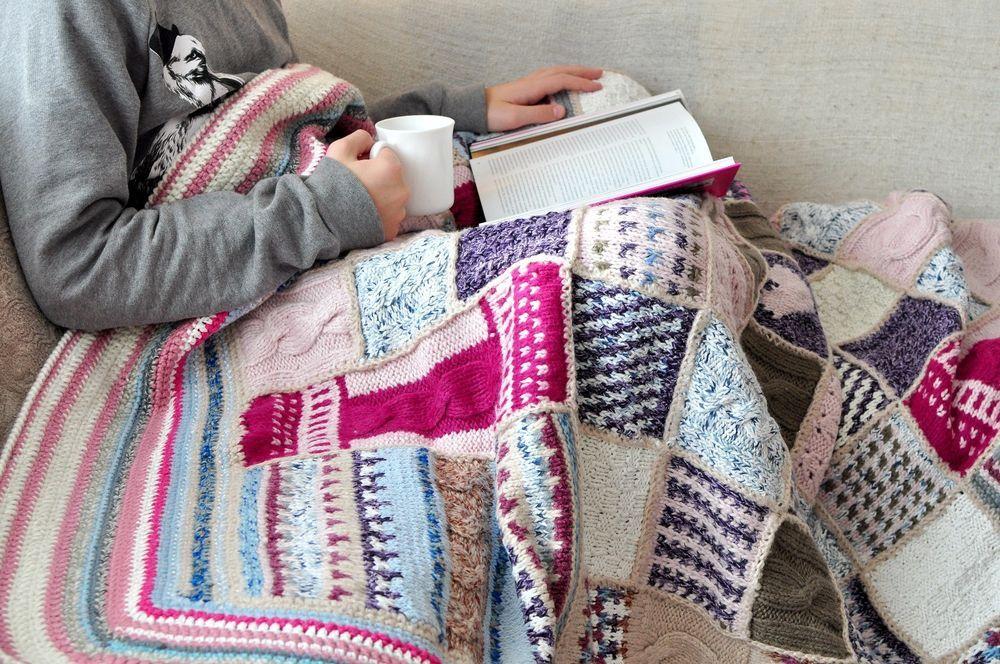 Strick Wolle Uberwurf Decke Strick Bettwasche Patchwork Hakel