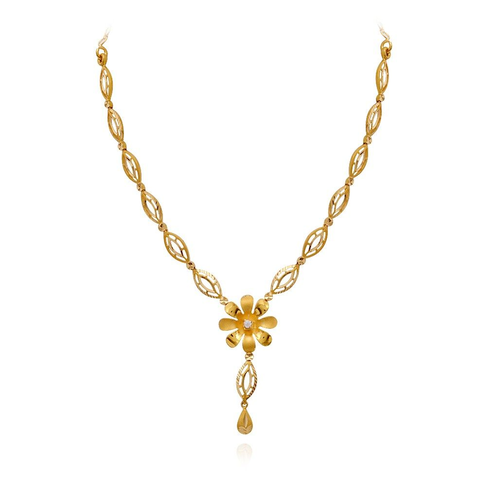 Light Weight Jewellery | Stylish Single Flower Beautiful Gold ...