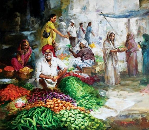 Market With Images Indian Art Paintings Art Painting