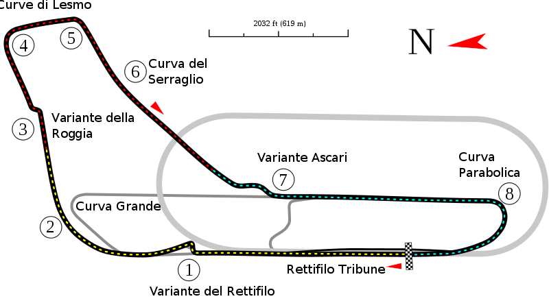 track map of the grand prix circuit at autodromo nazionale monza by will pittenger gran. Black Bedroom Furniture Sets. Home Design Ideas