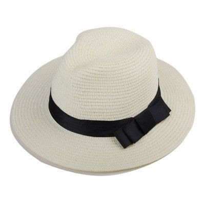Vintage Summer Fefdora Straw Hat Men Black Fedora Hat Gentlemen White Straw  Panama Hats Large Brim 884c943cdbd