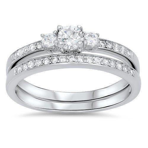 .75CT Round Cut Russian Lab Diamond Bridal Set Wedding Band Ring