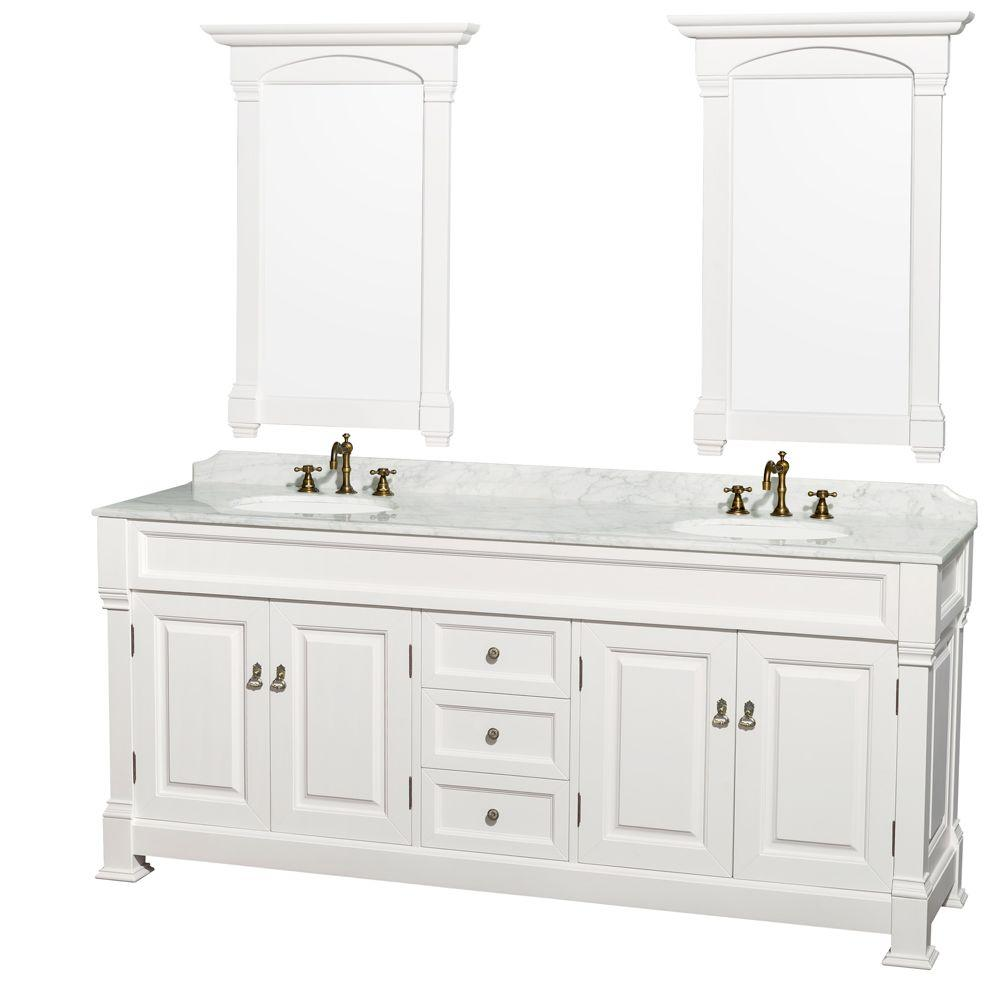 Wyndham Collection Andover 80 In Vanity In White With Marble