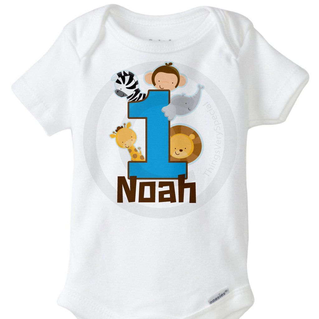 Boy's Jungle Theme Birthday Onesie with Name, 1st Birthday