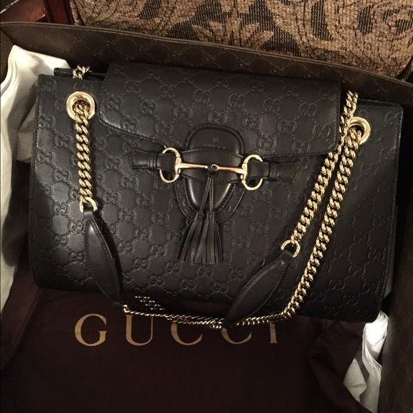 a68271fc9dcc GUCCI EMILY bag soho flap double chain handbag lv 100% authentic Gucci Emily  Guccissima Emily Medium Leather Shoulder Hand Bag Comes with dust bag.