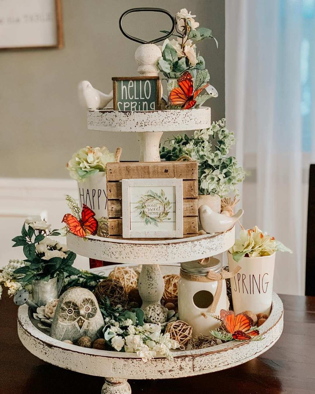 Look At My 3 Tier Chippy White Tray From Simplytooshabbyinspo I Am Completely Obsessed The Link To This Beauty Tiered Tray Decor Tiered Tray Tray Decor
